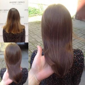 Когда осветлённые концы надоели, а корни отрасли, делай Тонирование волос в натуральных коричневых оттенках.