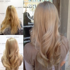 Корекция цвета в нейтральных, мягких, натуральных оттенках блонд от ANDREY SIRKO hair design