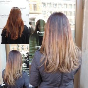 окрашивание волос балаяж шатуш тонирование волос стрижка парикмахерская центральный район